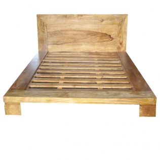 Solid mango king bed with 20cms edging and flush slats