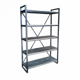 bookcase-5-shelves-iron-frame-120x40x190-grey